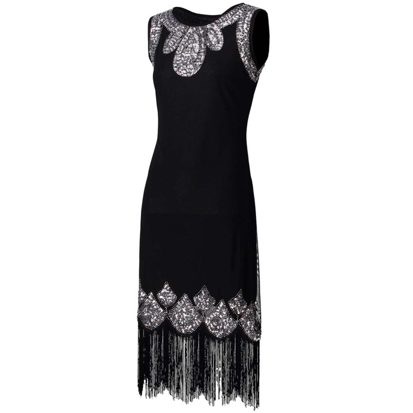 d0fb755ab96 KHGYSJ Stretchy Little Black Dress Women Vintage Fringe Embellished Sequin  Beaded Flapper Dress at Amazon Women s Clothing store