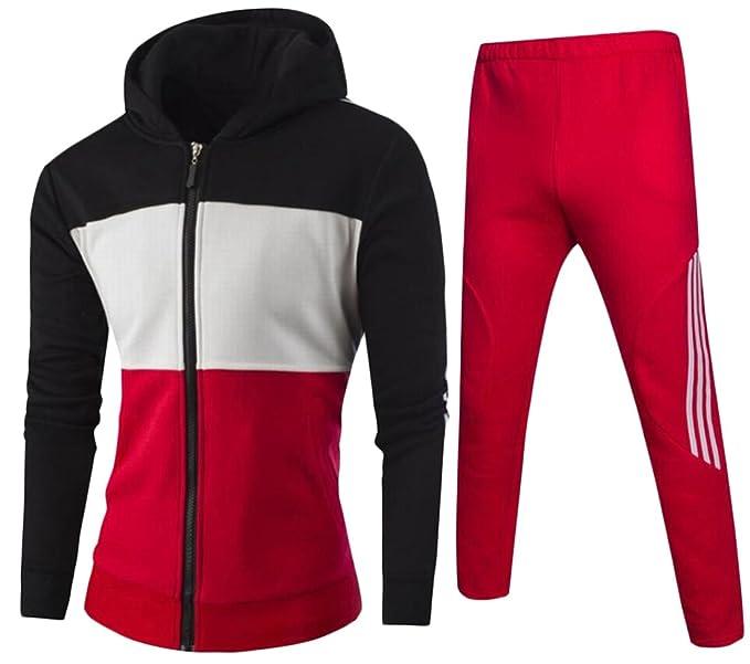 c50140135a8 GAGA Men s Acitve Wear Long Sleeve Color Block Zipper Hooded Sweatshirt +  Casual Pant Tracksuit Black