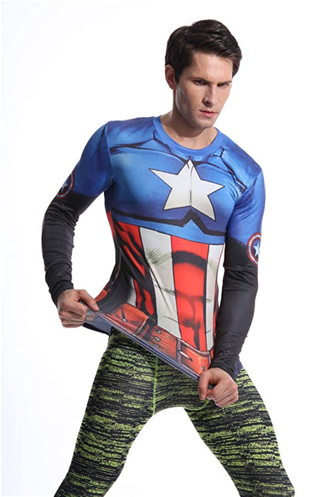 Mens Slim Fit Long Sleeve Captain America Compression Gym Shirt