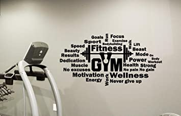 Gym Wall Decal Words Cloud Motivational Fitness Vinyl Sticker Inspirational Decor Motivation Quote Sport