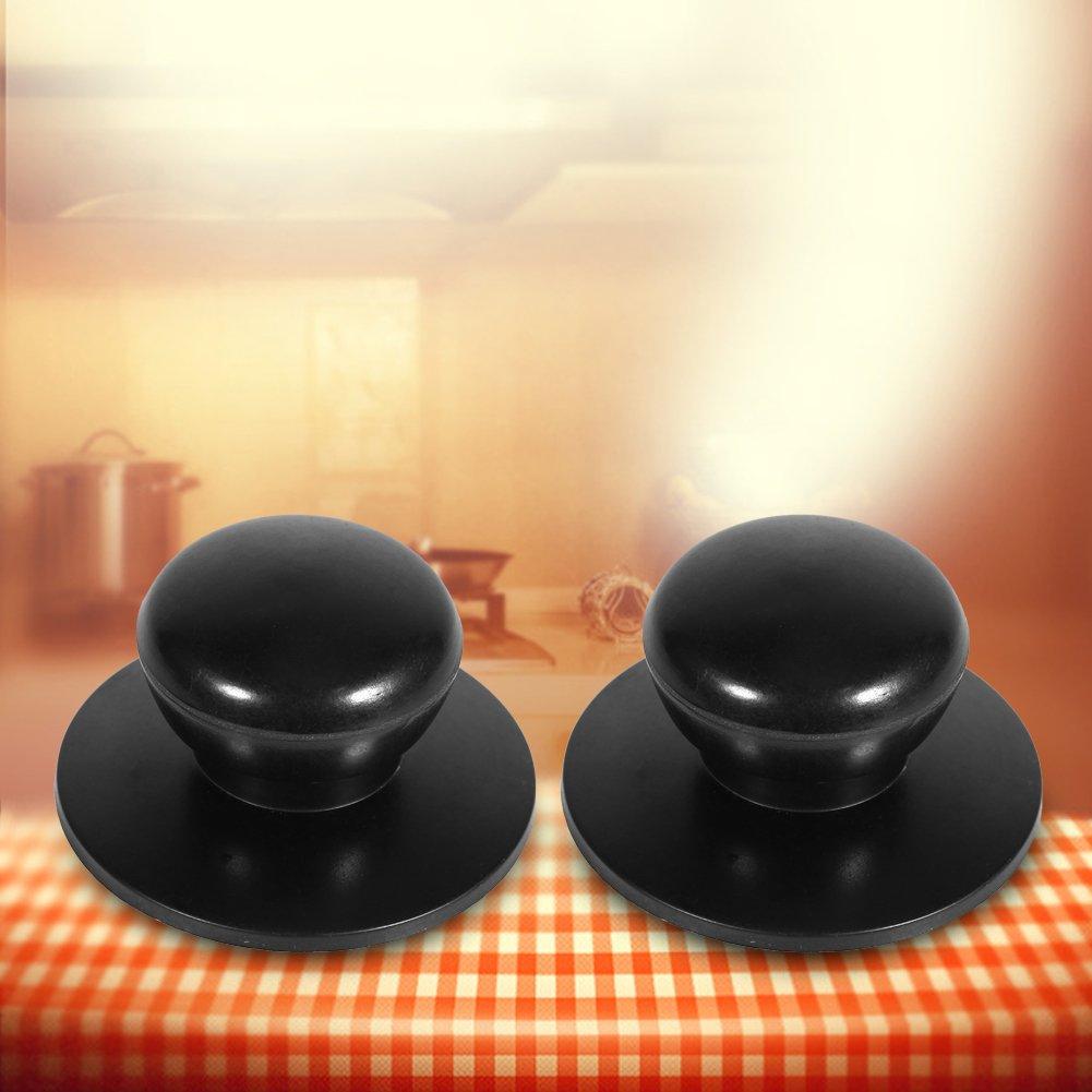 Tapas Perillas 2 Unids Negro Utensilios de cocina Sart/én Caldera Cubierta de reemplazo Asas de sujeci/ón Nuevo