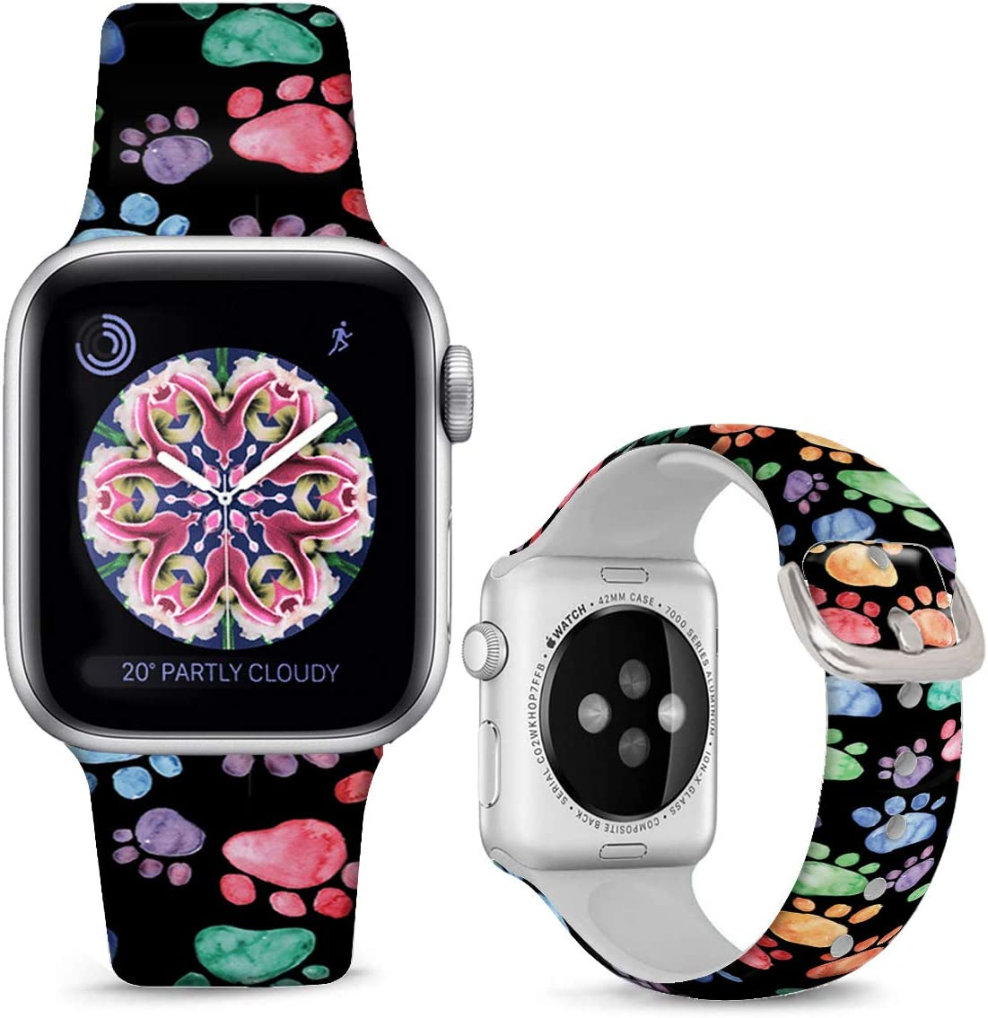 DOO UC Floral Bands Compatible with iWatch 38mm/42mm/40mm/44mm, Cute Animal Footprints Silicone Fadeless Pattern Printed Replacement Bands for iWatch Series 4/3/2/1, M/L for Women/Men