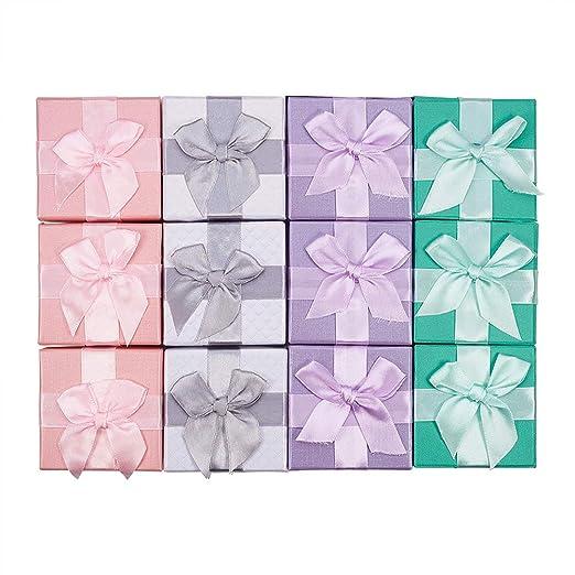BENECREAT 12 Pack Caja de Regalo Elegantes Joyeros para Aniversarios, Bodas, Cumpleaños, 4 Colores Surtidos - 7,2 x 7,2 x 5,3 cm