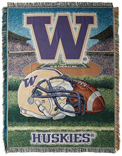 The Northwest Company Officially Licensed NCAA Washington Huskies Home Field Advantage Woven Tapestry Throw Blanket, 48