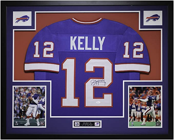 Amazon.com: Jim Kelly Autographed Blue Jersey - Beautifully Matted ...