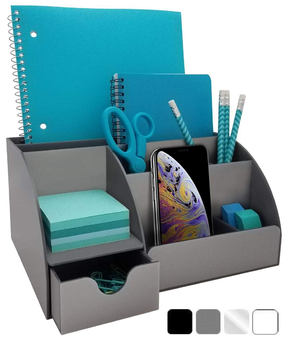 Acrylic Office Desk Organizer with Drawer, 9 Compartments, All in One Office Supplies and Cool Desk Accessories Organizer, Enhance Your Office Decor with This Desktop Organizer (Gray)