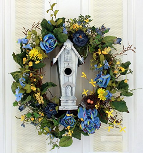 Mr Blue Birds Mansion Blue Roses and Yellow Daisies Silk Floral Wreath for Front Door Indoor Outdoor Summer Decor WS7150 by Wreaths For Door