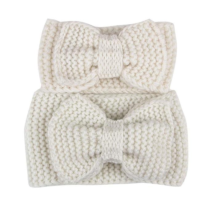 Saingace 2pc Mutter Und Baby Hairbands Bowknot Knit Stirnband Häkeln