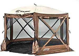 Clam Quickset Pavilion Camper 10' x 10' 8 Person Pop Up Camping Canopy, Brown