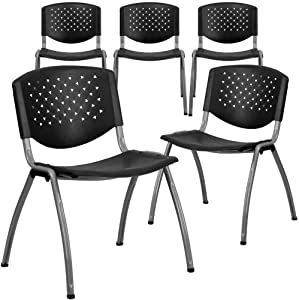Flash Furniture 5 Pack HERCULES Series 880 lb. Capacity Black Plastic Stack Chair with Titanium Gray Powder Coated Frame