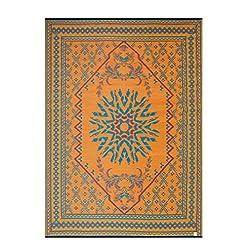 Garden and Outdoor MART DESIGN MAT SMM011 Reversible Indoor/Outdoor Plastic Rugs,Easy to Clean Outdoor Patio Rugs-(Orange,8×10) outdoor rugs