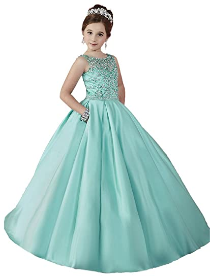 f4f9b87e61 HuaMei Little Girls Scoop Satin Tulle Beaded Ball Gowns Flower Girl Pageant  Dresses 2 US Mint