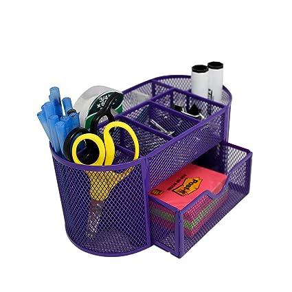 Merveilleux Mesh Desk Organizer 9 Components Office Accessories Supply Caddy With  Drawer, Purple (Purple)