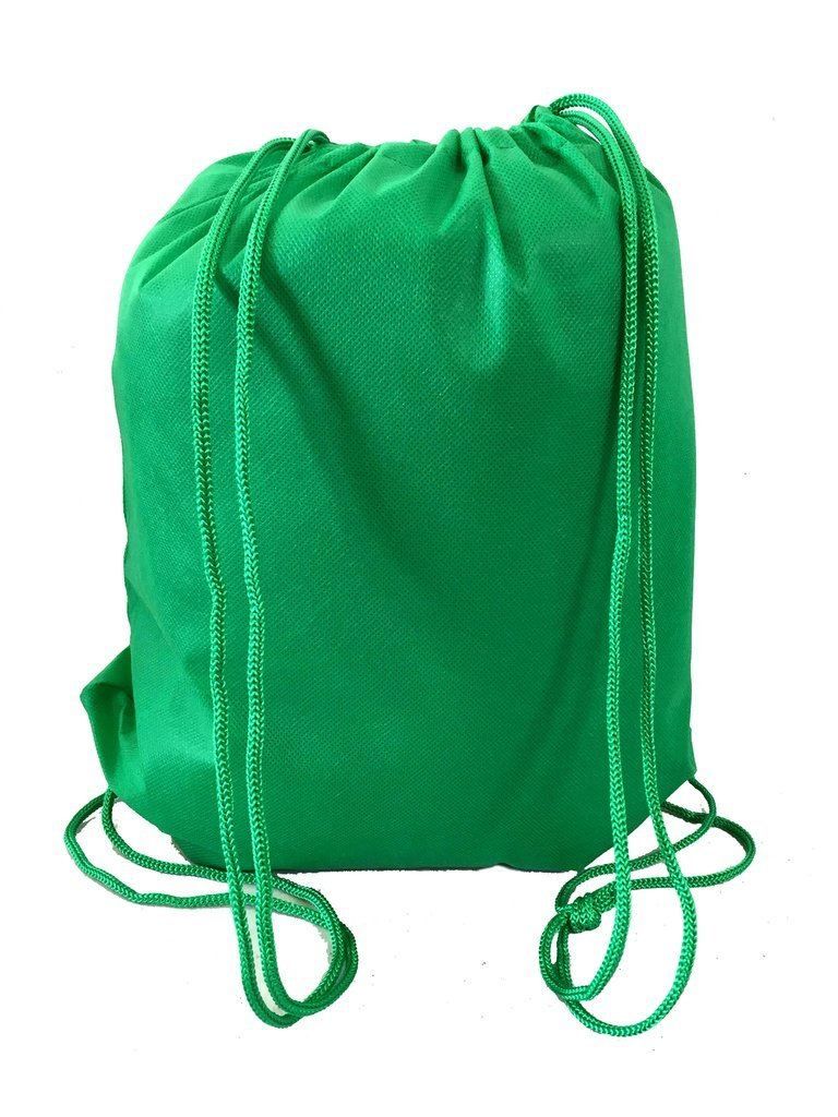 Pack of 12 Budget Friendly Well Made Non Woven Drawstring Bags 13.5''W x 15.5''H, Kids Drawstring Bags (KELLY GREEN)