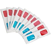 Leoie 10 Pcs Universal Paper 3D Glasses View Anaglyph Red/Blue 3D Glasses for Movie Video