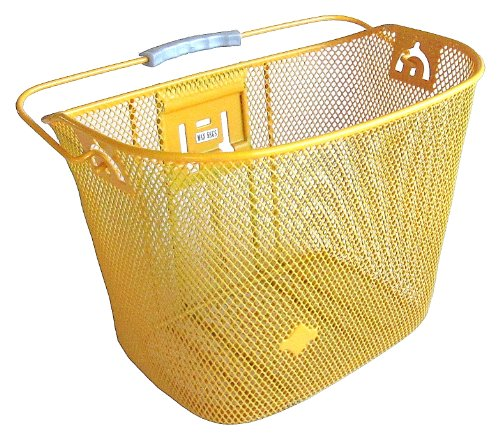 MTS Basket with Bracket Yellow/Orange, Front Quick Release Basket, Removable, Wire Mesh Bicycle basket, NEW, Yellow/Orange (Yellow Bike With Basket)