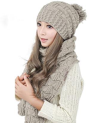 e43c9601939 MINAKOLIFE Femme Ensemble d écharpe et chapeau en tricot pour Winter (Beige)