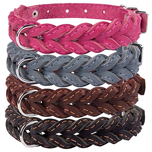 CollarDirect Braided Dog Collar, Genuine Leather Pet Collar for Dogs Small Medium Large Black Brown Pink Gray (Neck Fit 12