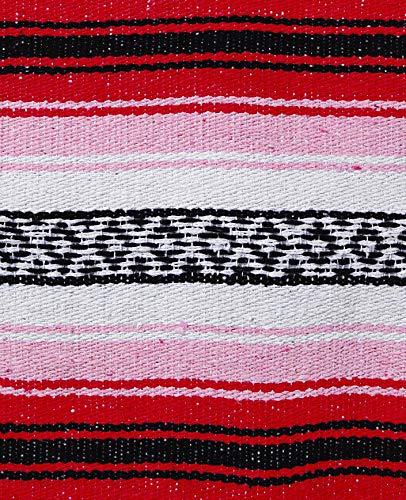 El Paso Designs Genuine Mexican Falsa Blanket - Yoga Studio Blanket, Colorful, Soft Woven Serape Imported from Mexico (Cherry) by El Paso Designs (Image #1)