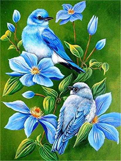 Framed Bluebirds and Flowers oil painting