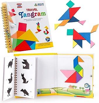 Coogam Viajes Tangram Puzzle con 3 Set de Tangram magnético - Viaje Tangos Rompecabezas Formas Disección Juegos con Solución - Libro de inteligencia Juguete educativo: Amazon.es: Juguetes y juegos