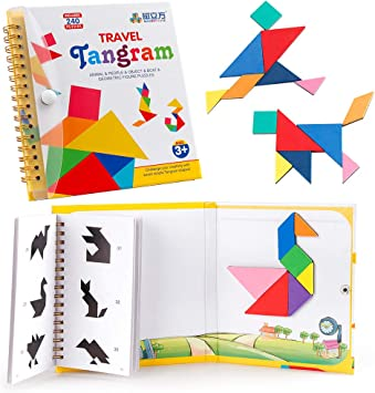 Coogam Viajes Tangram Puzzle con 3 Set de Tangram magnético ...
