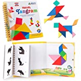 Coogam Travel Tangram Puzzle with 3 Set of Magnetic Tangram - Road Trip Pattern Blocks Jigsaw Shapes Dissection Games with Solution - IQ Book Educational Toy Brain Teaser Gift for Kid Adult Challenge