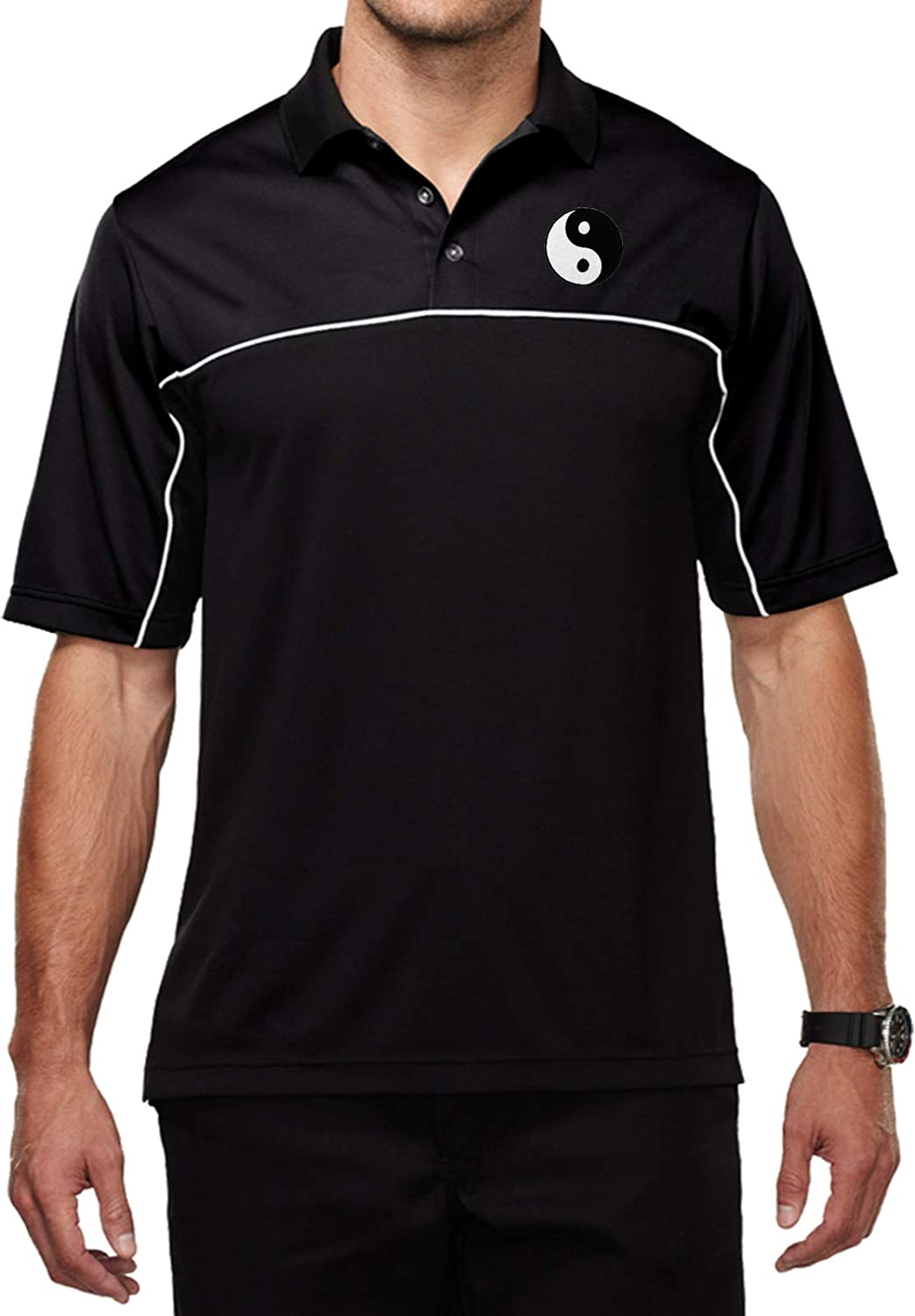 Mens Yoga Moisture Wicking Polo Yin Yang Patch Pocket Print