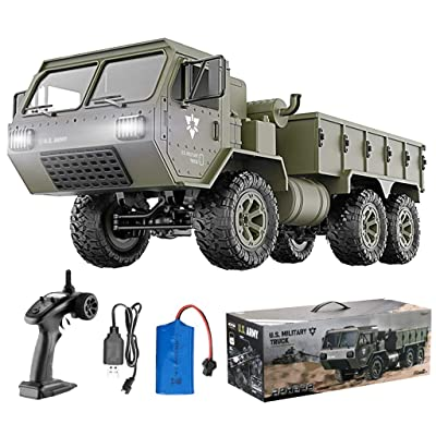 HIBRO RC Cars for Adults and Kids,Army Toys 1:12 Scale 6WD Off-Road RC Military Truck 2.4Ghz Remote Control Car 9.5 MPH High Speed Climbing Vehicle with LED Light RTR for Best Gift Choice: Toys & Games