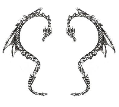 Blackheart Dragon Earrings Earpin set yixD6R7F