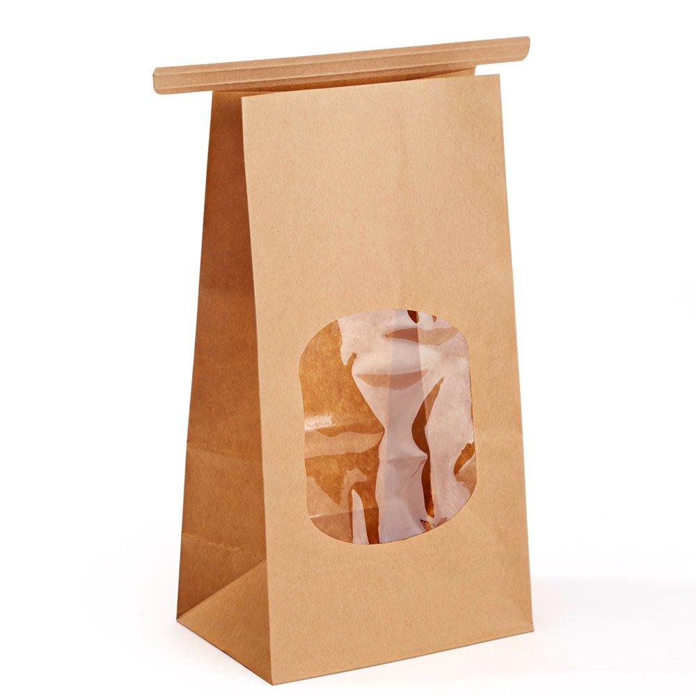 Halulu Bakery Bags Paper Treat Bags Resealable Kraft Paper Bags Cookie Popcorn Bags with Windows, 3.54x2.36x6.7'', Pack of 100 (Brown)