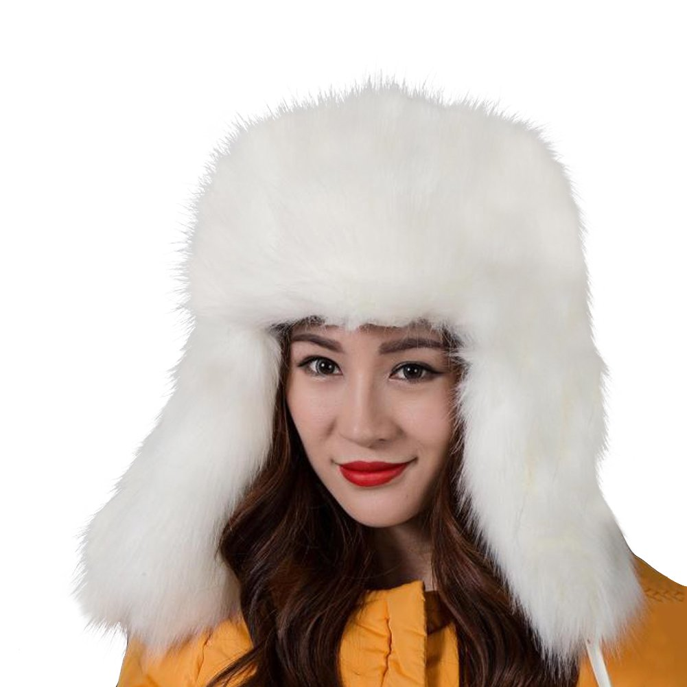 Dikoaina Faux Fur Snow Trapper Hat with Ear Flap for Skiing Head Circumference 22''-22.8'' (White)