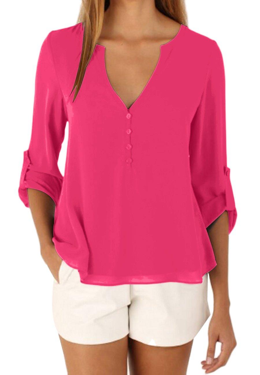 OMZIN Tunics for Women, Ladies Chiffon Top Blouse for Women Rose XL