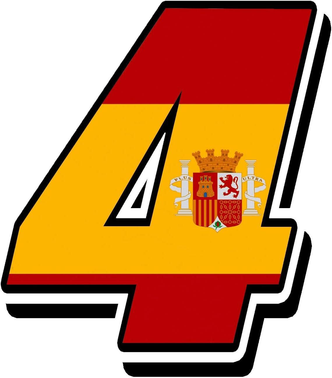 Biomar Labs® Número 4 Bandera Nacional España Spain Calavera Vinilo Adhesivo Pegatina Coche Auto Motocross Moto Sport Start Racing Tuning N 284: Amazon.es: Coche y moto