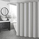 Ufaitheart 72 By 78-Inch Shower Curtain Extra Long Bathroom Curtains Geometric, Heavy Duty, Water-Repellent, Mouldproof and Antibacterial, Grey&White