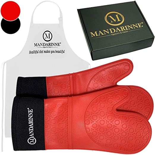 Red Extra Long Professional Silicone Oven Mitt Oven Mitts with Quilted Liner