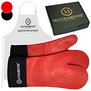 Silicone Oven Mitts and Apron Set – Heat Resistant Grill Mitts – Extra-Long Professional Heat-Resistant Mitts – Quilted Cotton Lining – High Durability – Red Oven Gloves + White Apron