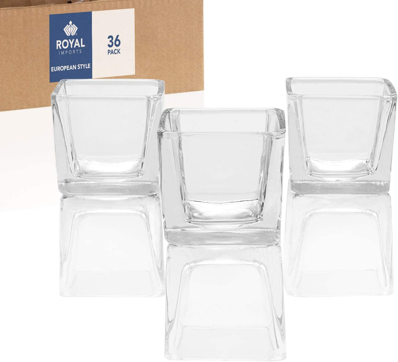 Royal Imports Candle Holder Glass Votive for Wedding, Birthday, Holiday & Home Decoration, European Style, Set of 36 - Unfilled