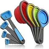 BeeVibes Tazas Plegables y Cucharas Medidoras; Set de 8 Piezas de Silicona; BPA free Grado Alimenticio; Eco-Friendly; 100% Ca