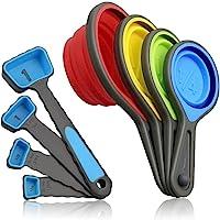 BeeVibes Tazas Plegables y Cucharas Medidoras; Set de 8 Piezas de Silicona; BPA free Grado Alimenticio; Eco-Friendly…
