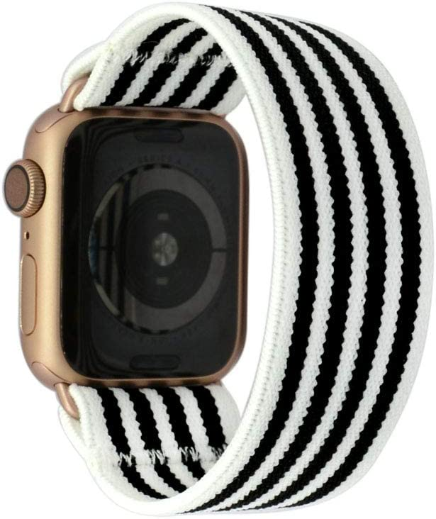 Tefeca Stripe Pattern Elastic Compatible/Replacement Band for Apple Watch 42mm/44mm (Gold Adapters, S fits Wrist Size : 6.0-6.5 inch)