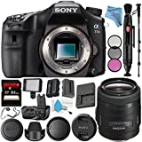 Sony Alpha a77 II DSLR Camera (Body Only) ILCA77M2 + Sony 35mm f/1.4 G Lens SAL35F14G + VG-C77AM Vertical Battery Grip + NP-FM500H Lithium Ion Battery + 64GB SDXC Card + Fibercloth Bundle