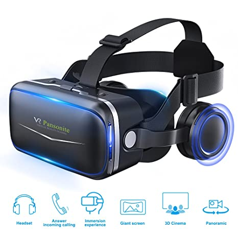 79f05d76e2a Pansonite 3D VR Headset Virtual Reality Glasses - 360 Panoramic with  Built-in Stereo Headphones
