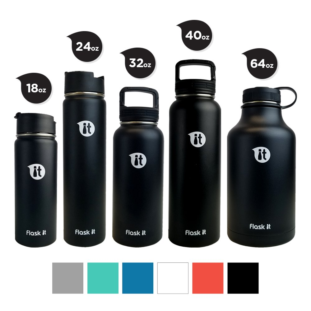 Flask It Insulated Bottle 2018 Wide Mouth Flat - Black 64