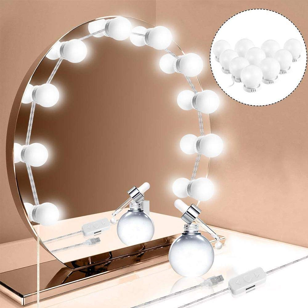 LED Lights for Mirror with Dimmer, Scientify LED Makeup Mirror Lights with 10 Dimmable Bulbs, USB Powered Flexible Lighting Fixture Strip 7000K for Bathroom, Mirror Lights, Dressing Room