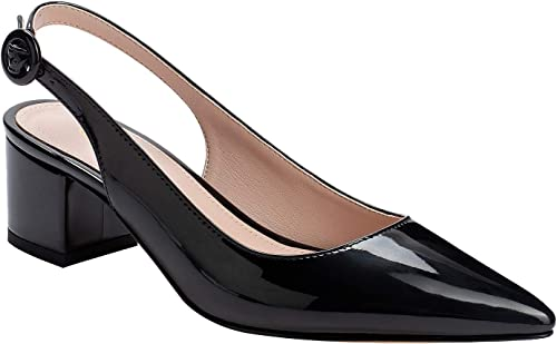 Women Block Heels Pumps Square Toe Buckle Ankle Strap Slingbacks Casual Shoes sz