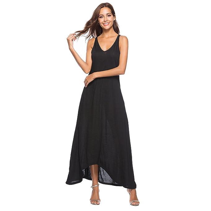 c02a59e6ba2bb Zumine Women's Casual V Neck Sleeveless Tank Top Long Maxi Dresses with  Pockets (S,