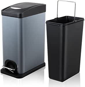 H+LUX Trash Can with Lid, Small Rectangular Trash Can with Removable Inner Wastebasket for Bathroom Bedroom Office, Fingerprint Resistance, 2.1 Gal/8 L, Gray