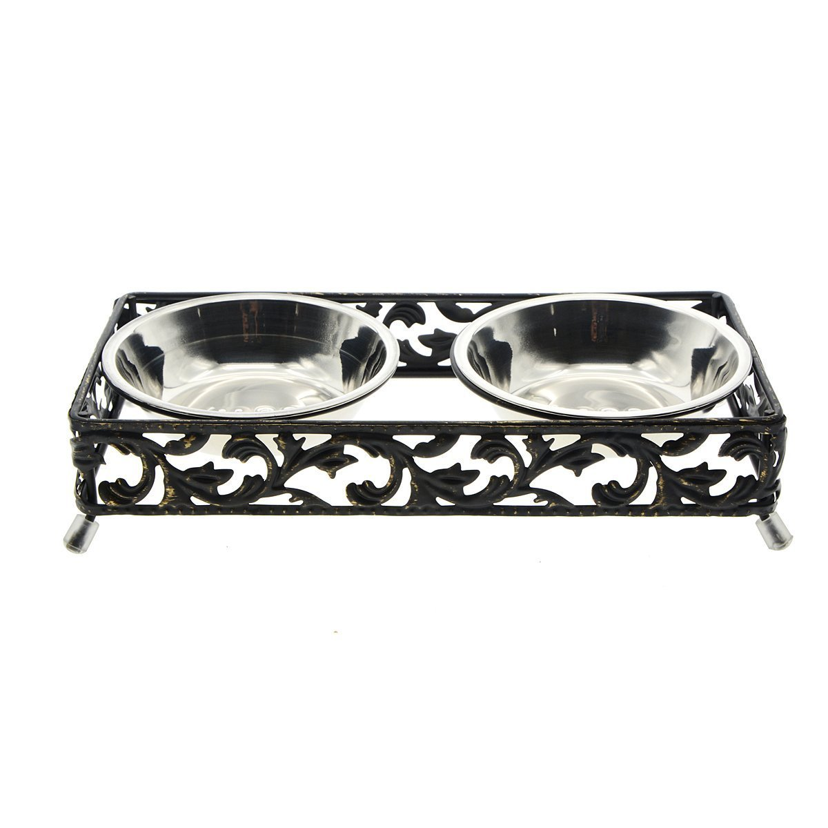 Global Brands Online Stainless Steel Pet Bowl for Food and Water Bowls Pet Feeders Double Bowls SetAntique Metal Stand