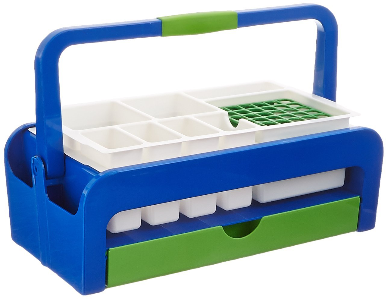 Heathrow Scientific HD2200B ABS Multipurpose Utility Tray with Two Inserts Style B, 429 mm Length x 265 mm Width x 172 mm Height, Blue/Green